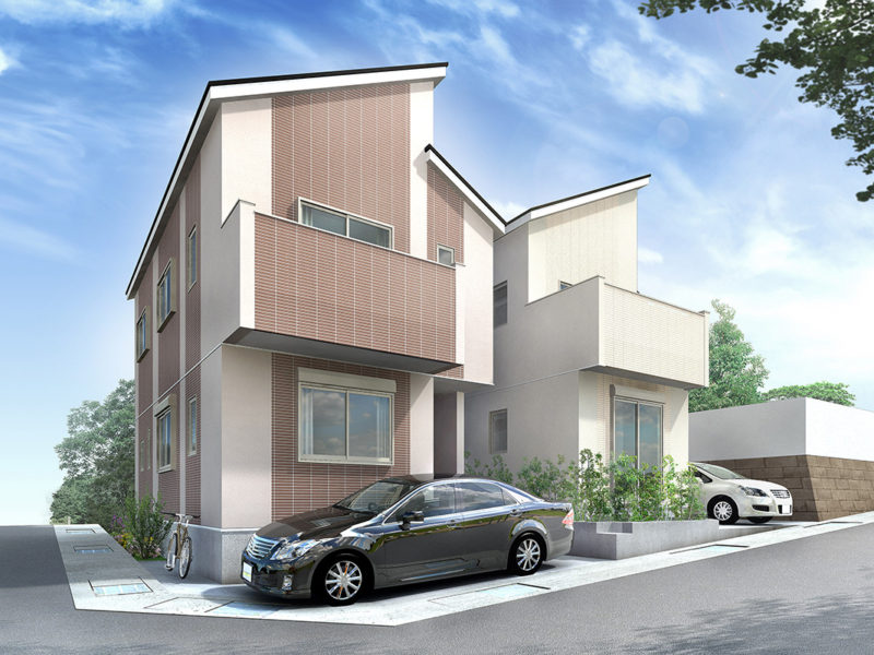 2棟住宅パース