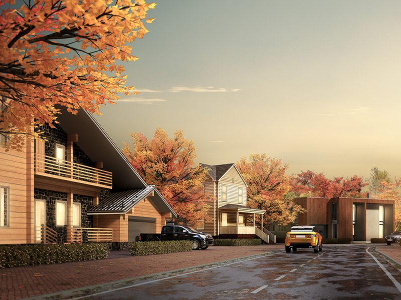 フルCG制作の多棟住宅