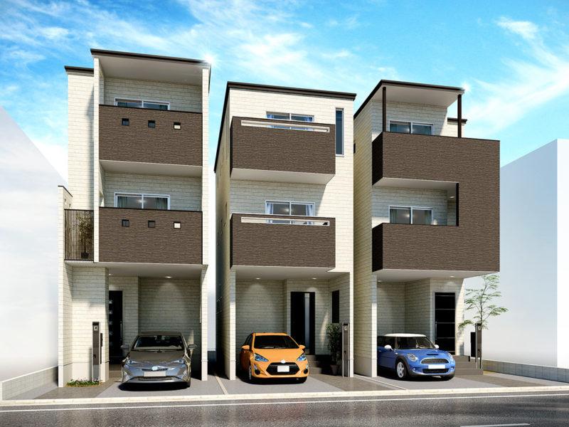 3棟住宅CG、完成予想図